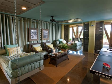 Teal Game Room With Hanging Beds Relax And Play In