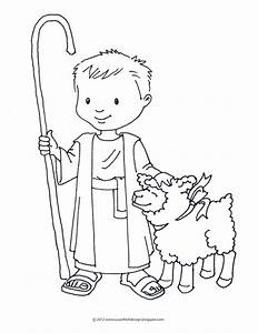 Free coloring pages of shepherd and sheep