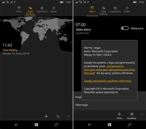 alarmy i zegar z drobną aktualizacją dla windows 10 mobile