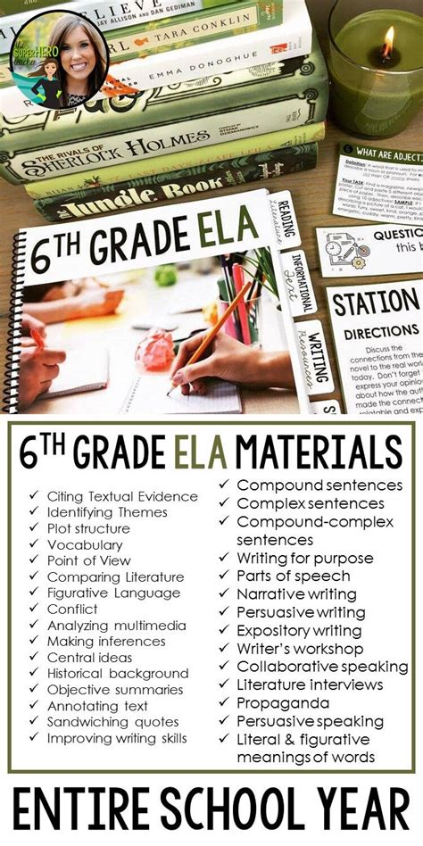 6th Grade English Language Arts Resources For An Entire School Year Editable  The Superhero