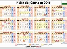Kalender 2018 Sachsen Ferien, Feiertage, ExcelVorlagen