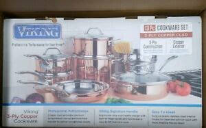 viking  piece tri ply copper clad cookware set brand   opened  ebay