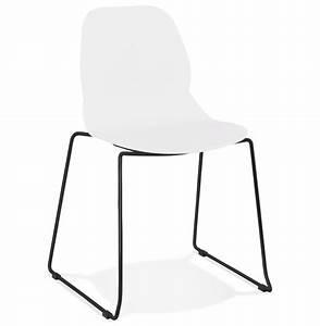 Chaise Pied Metal Noir : chaise design numerik blanche avec pieds en m tal noir ~ Teatrodelosmanantiales.com Idées de Décoration