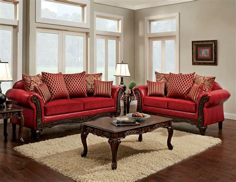marcus red living room set sm sf furniture  america