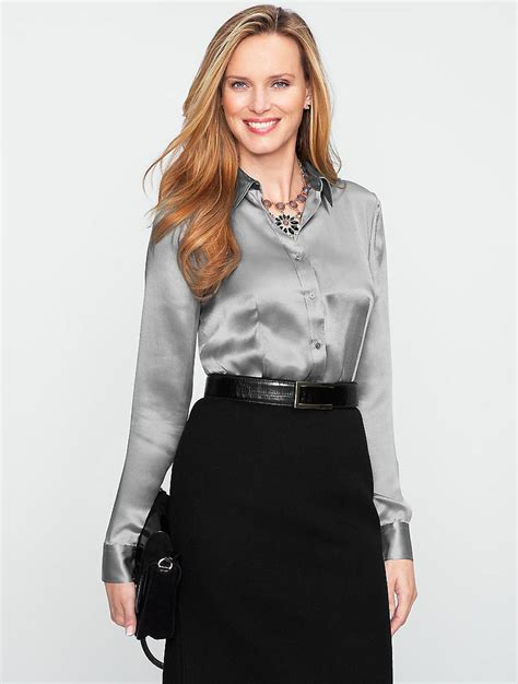 silver blouse shiny silver button up blouse flickr photo