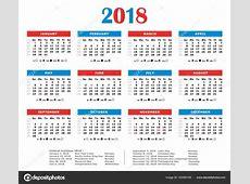 calendario del año 2018 Colores americano Días feriados