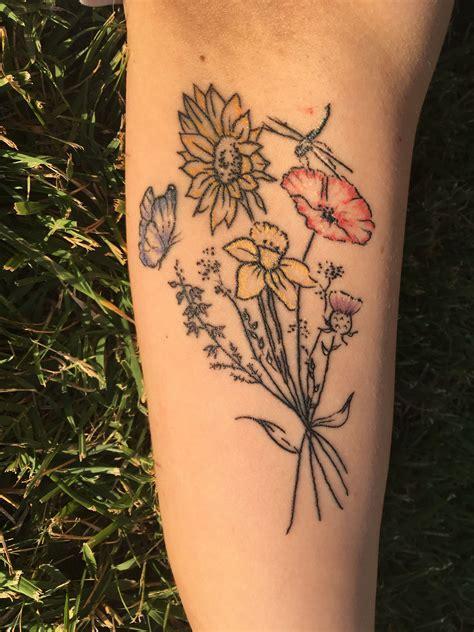 wildflower tattoo flowers daffodil sunflower poppy
