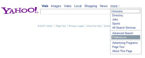 Changing Yahoo Search Settings