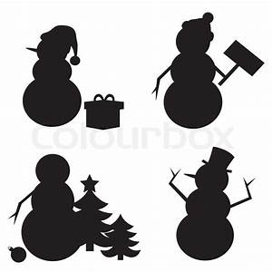 Snowman Silhouette isolated on white background. | Stock ...