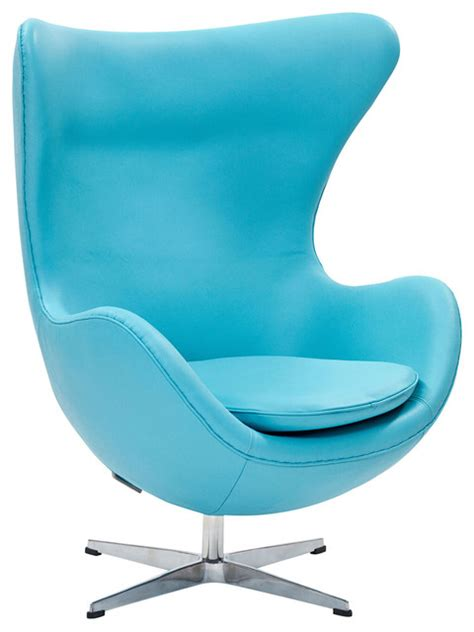 modern light blue leather swivel lounge chair inspired by