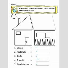 2 Dimensional Shapes Worksheets, 2d Shape Coloring Page Kindergarten  1st Grade