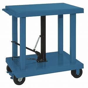 WESCO Mobile Manual Lift Manual Push Lift Table 2000 Lb