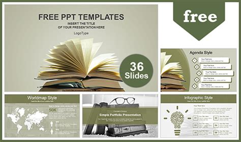 vintage  books powerpoint template