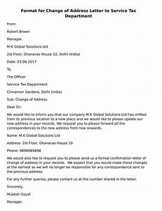 format for change of address letter to service tax With house address letters