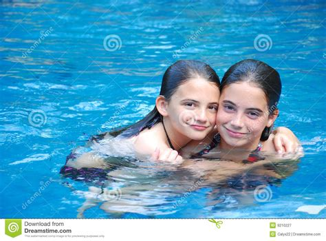 Swimming Pool Girls Stock Image Image Of Blue