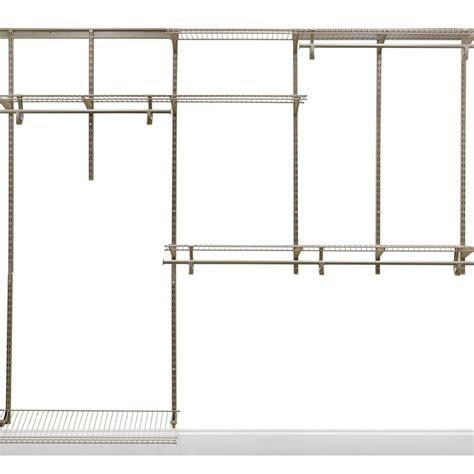closetmaid shelftrack 5 ft 8 ft nickel closet organizer