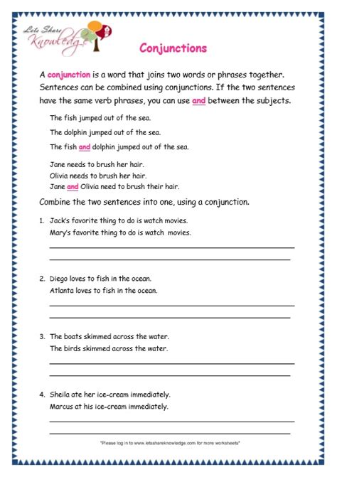 conjunction worksheets for grade 3 with answers