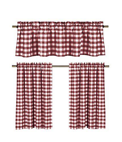 country plaid kitchen curtains goodgram goodgram 3 pc plaid country chic cotton blend 6195