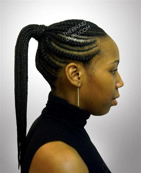 biggie small feed  cornrows ponytail side view