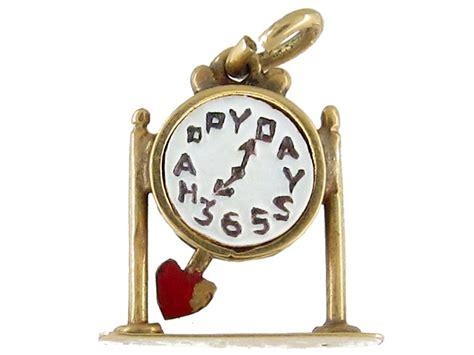 deco gold deco gold clock charm the antique jewellery company