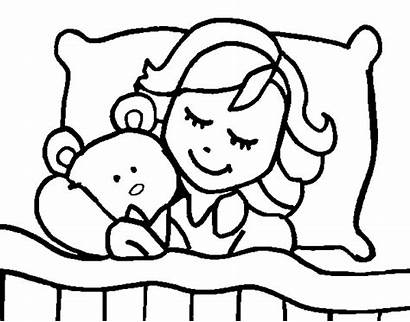 Sleeping Pages Coloring Drawing Child Colouring Bed