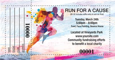 how much is a ticket for running a light design raffle tickets for a running fundraiser