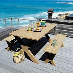 Table De Jardin Avec Banc : la table de pique nique qui va vous inspirer ~ Melissatoandfro.com Idées de Décoration