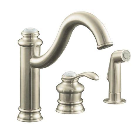 brushed nickel faucets kitchen shop kohler fairfax vibrant brushed nickel 1 handle high