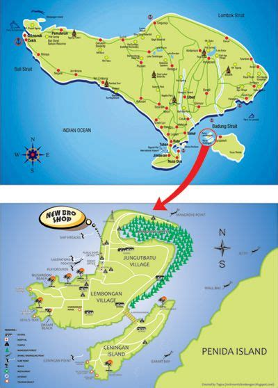 pin  lembongan guide  map  lembongan bali lombok