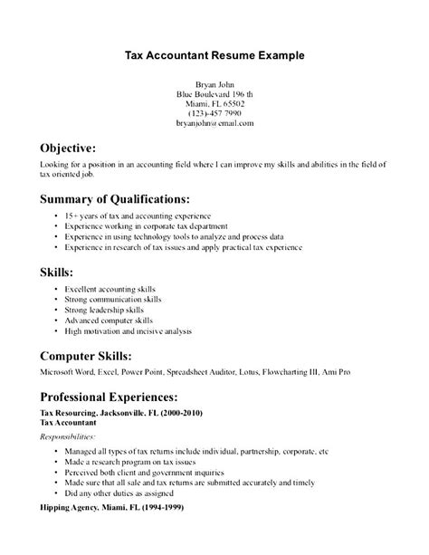 Tax Preparer Resume Objective by Tax Accountant Resume Exle Free Sles Exles