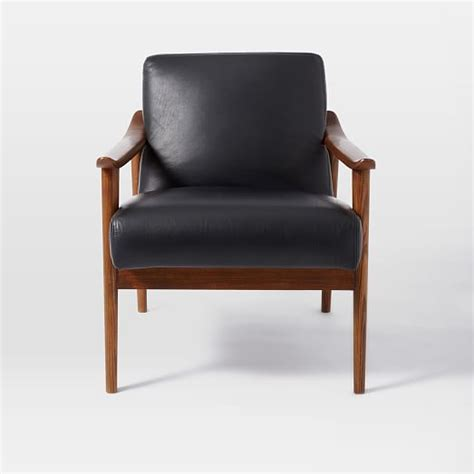 mid century leather show wood chair west elm