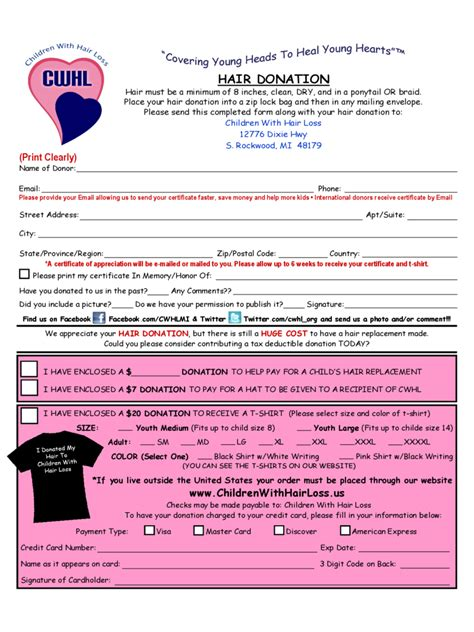 hair donation form   templates   word excel