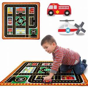 Jeu De Voiture : tapis de jeu circuit de voiture 4 v hicules les secours 100 x 91 cm pour chambre d 39 enfant ~ Medecine-chirurgie-esthetiques.com Avis de Voitures