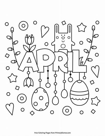 Coloring April Pages Spring Printable Primarygames Month