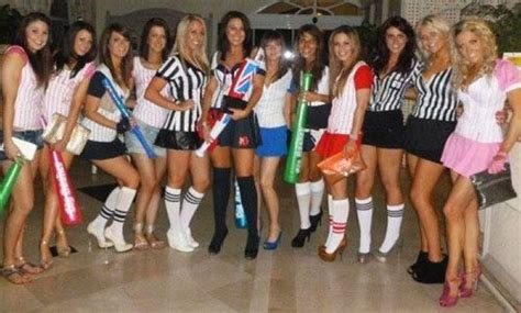 A very Sexy Sports Theme fancy dress - Rachel (4th from right) wore our Red Baseball Costume by ...