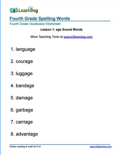 fourth grade spelling words k5 learning