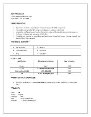 P G Resume Format by Sap Fico 2 Years Experience Resumes Resume
