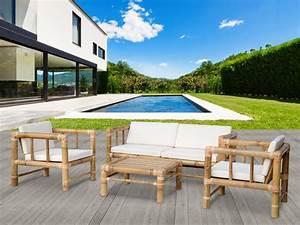 Conjunto de jardin de bambu, 1 sofa de 2 plazas, 2 sillones y 1 mesa de centro BOHOL II