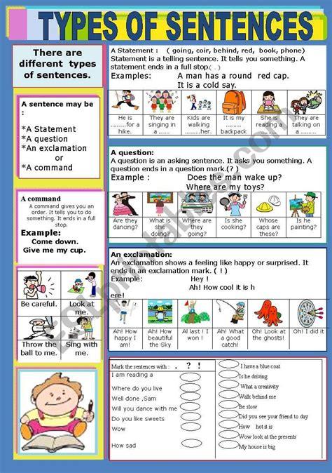 types  sentences esl worksheet  jhansi