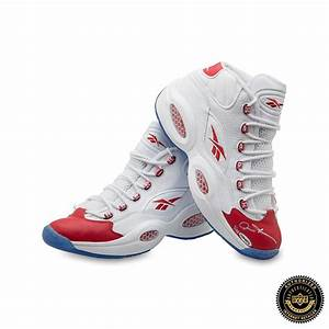 Allen Iverson Signed Reebok Question Mid Shoes with Red ...