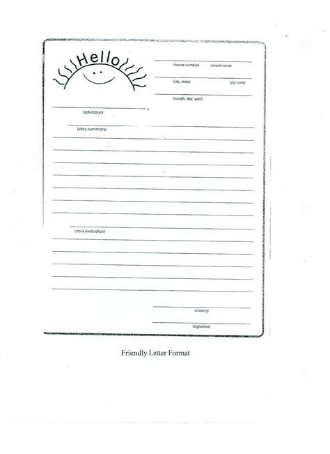 friendly letter template friendly letter