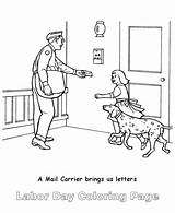Coloring Mail Carrier Labor sketch template