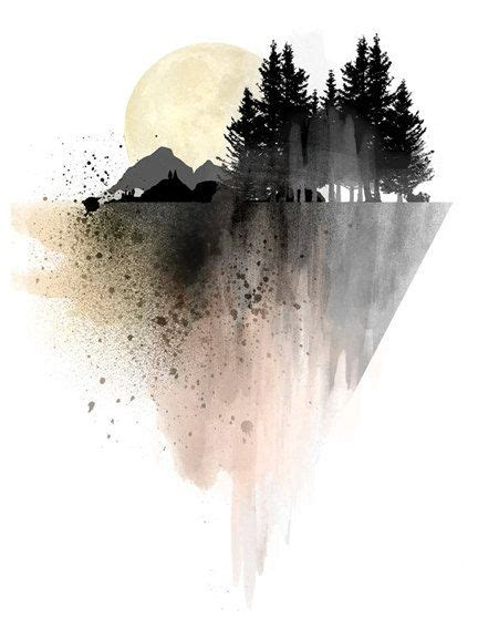 Mountain Art Print Poster Wall Forest