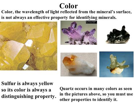 properties of color minerals physical properties