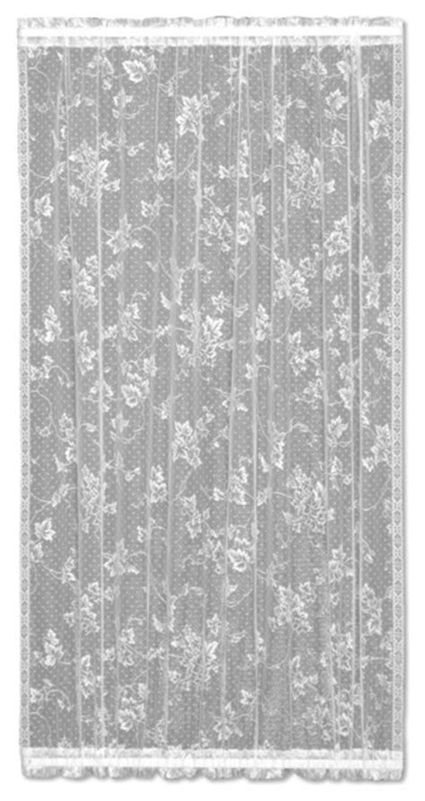 "English Ivy Door Panel, White, 36"" - Victorian - Curtains"