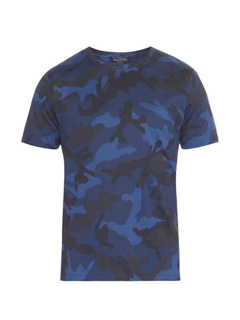 valentino t shirt lyst valentino camouflage print cotton jersey t shirt in blue for
