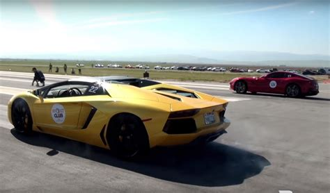 Vs Lamborghini Race by Lamborghini Aventador Vs F12berlinetta Drag Race