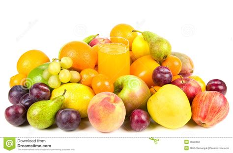 Pile Of Fruits Around A Glass Of Juice Royalty Free Stock