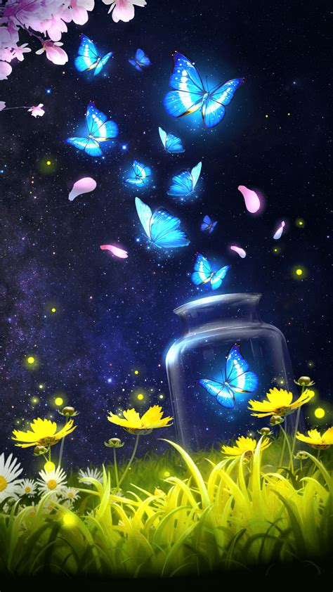 Animated Wallpaper Live by Android Live Wallpaper Background Shiny Blue Butterfly