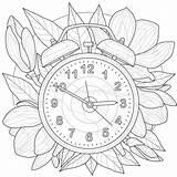 Antistress Alarm Adults Clock Coloring Children sketch template